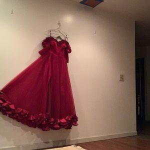 Red off the shoulder prom dress